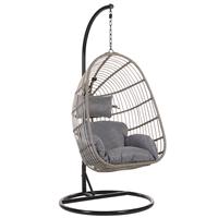 Beliani Hangstoel met standaard rotan grijs/zwart CASOLI