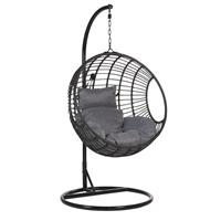 Beliani Hangstoel met standaard rotan zwart ASPIO