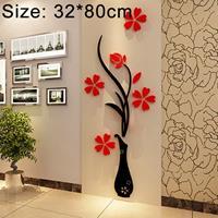 Creatieve Vaas 3D Acryl Stereo Muurstickers TV Achtergrond Muur Gang Woondecoratie, Afmeting: 32x80x4cm