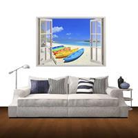 3D Beach Window View verwijderbare muurkunststicker, afmetingen: 60 x 85 x 0,3 cm