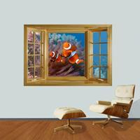 3D Dreamy Underwater World Window View verwijderbare muurkunststicker, afmetingen: 66 x 98 x 0,3 cm