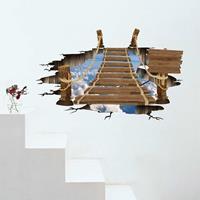 3D Flying Bridge verwijderbare muurkunststickers, afmetingen: 94,7 x 58 x 0,3 cm