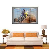 3D Handsome Racing Window View verwijderbare muurkunststicker, afmetingen: 66 x 98 x 0,3 cm