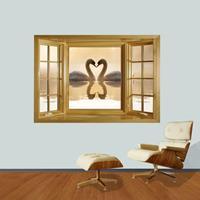 3D Harmony and Romantic Swans Couple Window View verwijderbare muurkunststicker, afmetingen: 66 x 98 x 0,3 cm