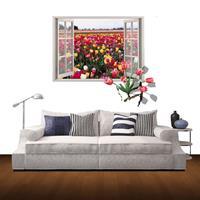 Muurdecoratie 3D-venster Landschap verwijderbare muurstickers, afmeting: 85cm x 60cm