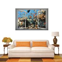 3D Underwater World Window View verwijderbare muurkunststicker, afmetingen: 66 x 98 x 0,3 cm