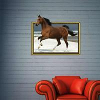3D-paard verwijderbare muurkunststickers, afmetingen: 69 x 58 x 0,3 cm
