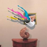 3D Splash kleurrijke verf verwijderbare Wall Art Stickers, afmetingen: 72,9 x 58 x 0,3 cm