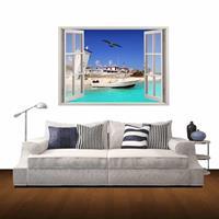 3D Bay Window View verwijderbare muurkunststicker, afmetingen: 60 x 85 x 0,3 cm