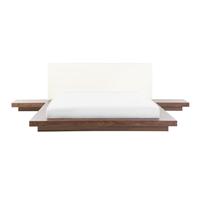 Beliani Bed bruin met LED-verlichting wit 160 x 200 cm ZEN