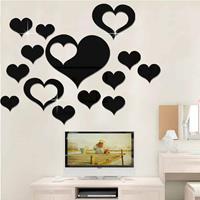 5 in 1 liefdesvorm spiegel kunst decor muurstickers woonkamer decoratie wanddecoratie sets (zwart)