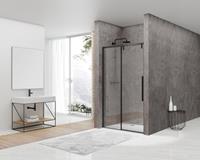 vanrijn van Rijn ST06 douchecabine met 120cm softclose deur en helder glas matzwart 120x100cm
