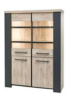 Bauwens Backorder Vitrine Hercules - 140x188x45cm - beach oak/grey rock