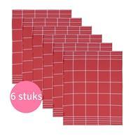 Clarysse Voordeelpakket Theedoek Timeless Rood 6 stuks