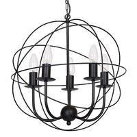 LUMINEX Kroonluchter Globe 5-lamps zwart