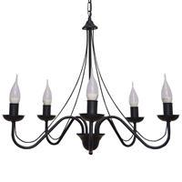 HELam Kroonluchter Malbo 5-lamps in zwart
