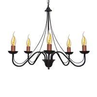 HELam Kroonluchter Malbo 5-lamps in zwart/koper