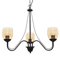 HELam Kroonluchter Allena 3-lamps zwart, glas amber