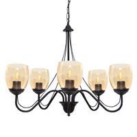 HELam Kroonluchter Allena 5-lamps zwart, glas amber