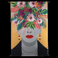 Wanddoek Face Flowers VelvetMulti 105 X 2.5 X 136