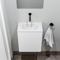 zaro Polly toiletmeubel 40cm mat wit met witte wastafel zonder kraangat
