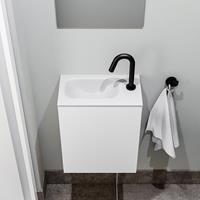 zaro Polly toiletmeubel 40cm mat wit met witte wastafel met kraangat links
