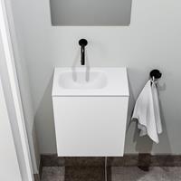 zaro Polly toiletmeubel 40cm mat wit met witte wastafel zonder kraangat links
