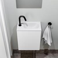 zaro Polly toiletmeubel 40cm mat wit met witte wastafel met kraangat rechts