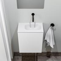 zaro Polly toiletmeubel 40cm mat wit met witte wastafel zonder kraangat rechts