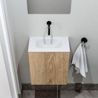 zaro Polly toiletmeubel 40cm eiken met witte wastafel zonder kraangat