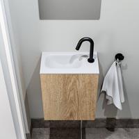 zaro Polly toiletmeubel 40cm eiken met witte wastafel met kraangat links