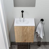 zaro Polly toiletmeubel 40cm eiken met witte wastafel zonder kraangat links