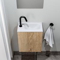 zaro Polly toiletmeubel 40cm eiken met witte wastafel met kraangat rechts