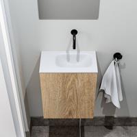 zaro Polly toiletmeubel 40cm eiken met witte wastafel zonder kraangat rechts