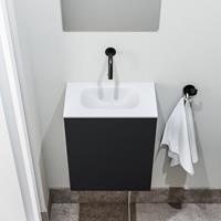 zaro Polly toiletmeubel 40cm mat zwart met witte wastafel zonder kraangat