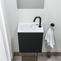 zaro Polly toiletmeubel 40cm mat zwart met witte wastafel met kraangat links