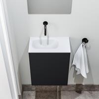 zaro Polly toiletmeubel 40cm mat zwart met witte wastafel zonder kraangat links