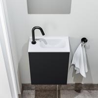 zaro Polly toiletmeubel 40cm mat zwart met witte wastafel met kraangat rechts
