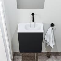 zaro Polly toiletmeubel 40cm mat zwart met witte wastafel zonder kraangat rechts