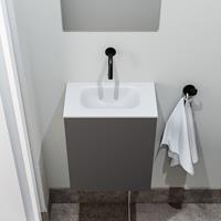 zaro Polly toiletmeubel 40cm donkergrijs met witte wastafel zonder kraangat