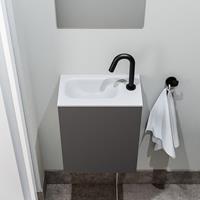 zaro Polly toiletmeubel 40cm donkergrijs met witte wastafel met kraangat links