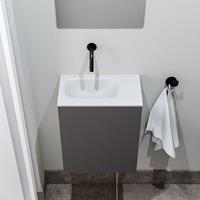 zaro Polly toiletmeubel 40cm donkergrijs met witte wastafel zonder kraangat links