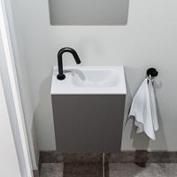 zaro Polly toiletmeubel 40cm donkergrijs met witte wastafel met kraangat rechts