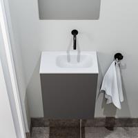 zaro Polly toiletmeubel 40cm donkergrijs met witte wastafel zonder kraangat rechts