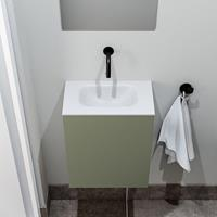 zaro Polly toiletmeubel 40cm army met witte wastafel zonder kraangat