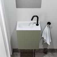 zaro Polly toiletmeubel 40cm army met witte wastafel met kraangat links