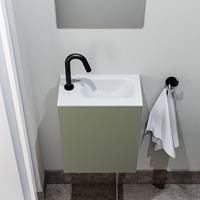 zaro Polly toiletmeubel 40cm army met witte wastafel met kraangat rechts