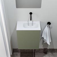 zaro Polly toiletmeubel 40cm army met witte wastafel zonder kraangat rechts