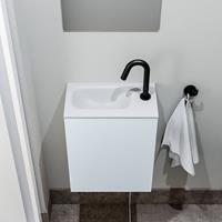 zaro Polly toiletmeubel 40cm clay met witte wastafel met kraangat links