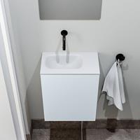 zaro Polly toiletmeubel 40cm clay met witte wastafel zonder kraangat links